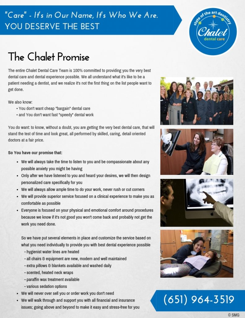 Dentist St. Paul Chalet Dental Care Promise
